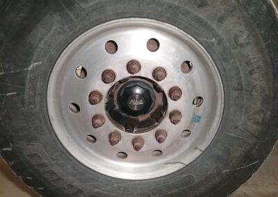 Truck Tire & Rim before Polishing